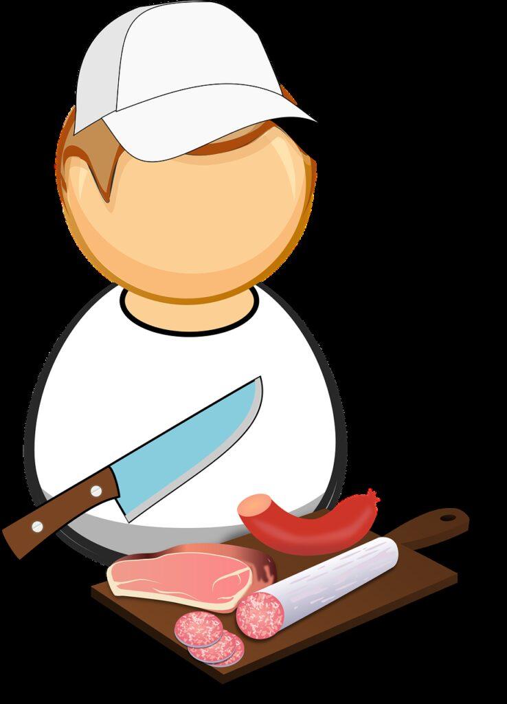comic characters, cutting board, food