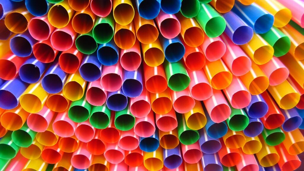 straws, colorful, many