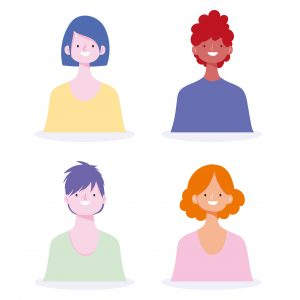 people young man and woman portrait character design vector illustration